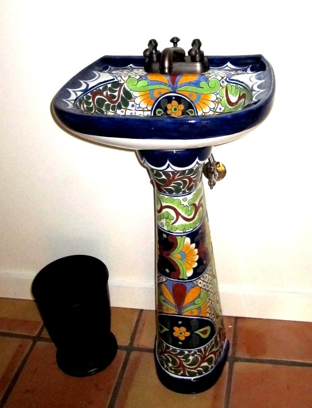 Bathroom Sinks Okc mexican talavera pedestal sink girasoles 3