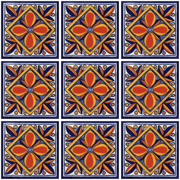 Mexican Talavera Tiles Flor Naranja