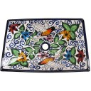 Mexican Talavera Vessel Rectangular Sink Colibri