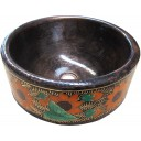 Hand Painted Copper Vessel Sink Round Garden of Sunflowers