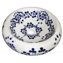Talavera Round Vessel Sink Donut Flor Azul
