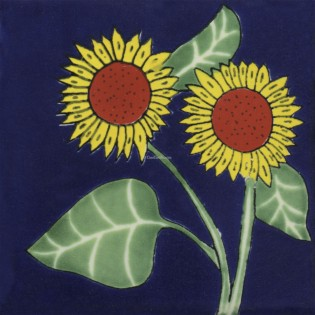 Mexican Talavera Tile Sunflower 8