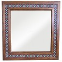 "Wooden Mirror 36""x36"" with Tiles Condal"