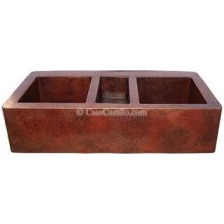 Copper Apron Sink 3 Bowls