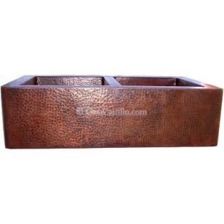 Copper Apron Sink 2 Bowls 50/50