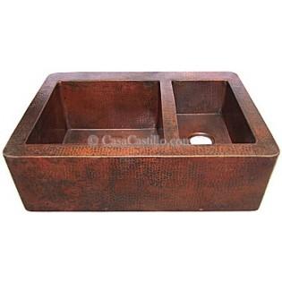 Copper Apron Sink 2 Bowls 60/40