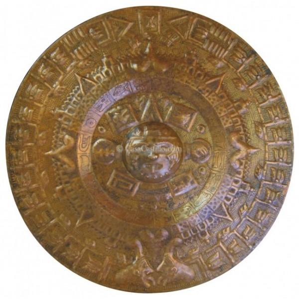 Mexican Copper Aztec Calendar Hand Hammered