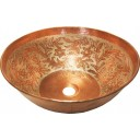 Copper Vessel Sink Round Antique Vines Silver