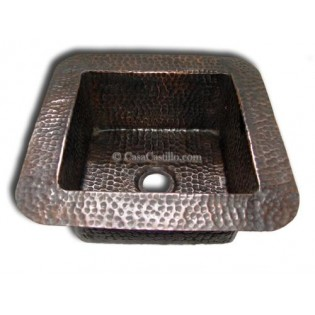 Copper Farmhouse Sink Square 1 Bowl Hammered