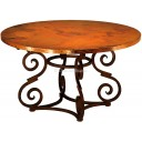 Hammered Copper Table with Iron Base Romana