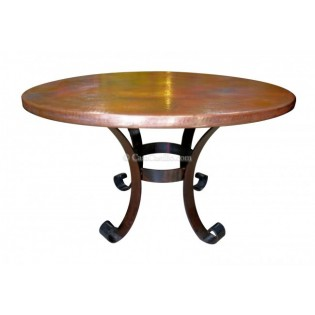 Hammered Copper Table with Iron Base San Miguel