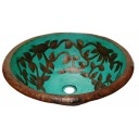 Hand Painted  Copper Vessel Sink Round Roses