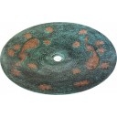 Hand Painted Copper Vessel Sink Round Peacock