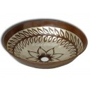 Hand Painted Copper Vessel Sink Round Flowers and Leaves
