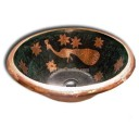 Hand Painted Copper Sink Round Peacock