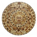 Mexican Aztec Calendar Wooden Inlay