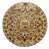 "40"" Mexican Aztec Calendar Wooden Inlay"