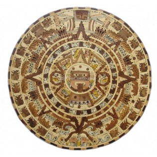 "40"" Mexican Aztec Calendar Wooden Inlay"