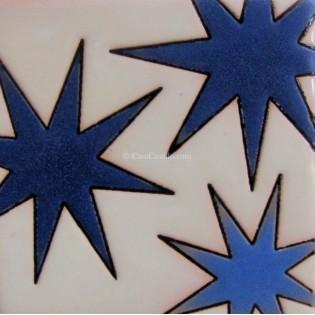 Ceramic High Relief Tile Blue Stars