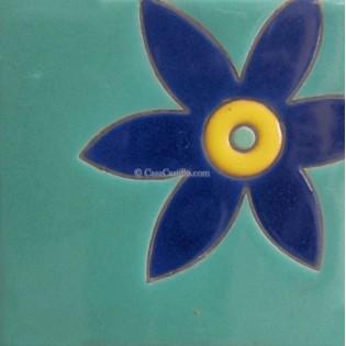 Ceramic High Relief Tile Lirio Azul