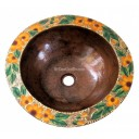 Hand Painted Copper Sink Round Orange Blossoms