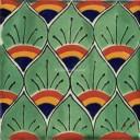 Mexican Talavera Tiles Cola de Pavo Verde