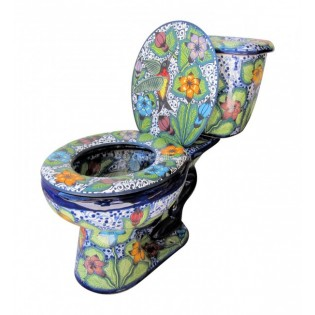Mexican Talavera Toilet Hummingbirds