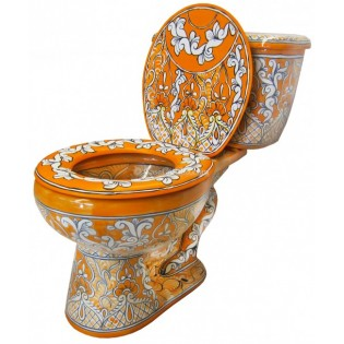 "Mexican Talavera Toilet Set ""Acapulco Oro"""