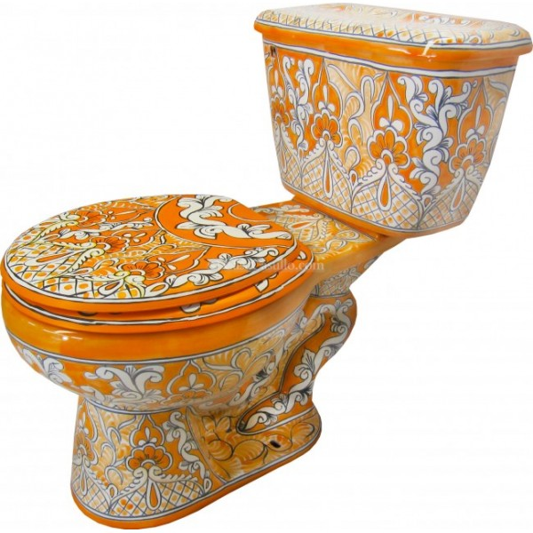 Mexican Talavera Toilet Acapulco Oro