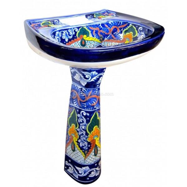 Beautiful Mexican Talavera Pedestal Sink Puebla