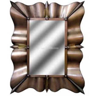Mexican Tin Mirror Elegant Wavy