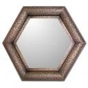 Mexican Tin Mirror Hammered Hexagon