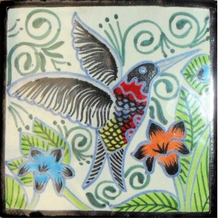Mexican Talavera Tile Hummingbirds