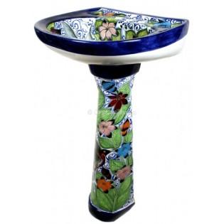 Mexican Talavera Pedestal Sink Hummingbirds