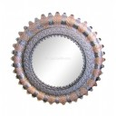 Round Mexican Tin Mirror Sunflower