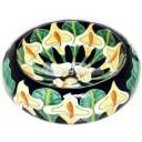 Talavera Round Vessel Sink Donut Lillies