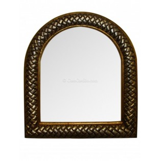 "Hand Painted Wooden Mirror 34"" Interwoven"