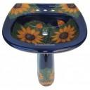 Mexican Talavera Pedestal Sink Girasoles 3