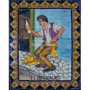 Mexican Talavera Mural El Borracho