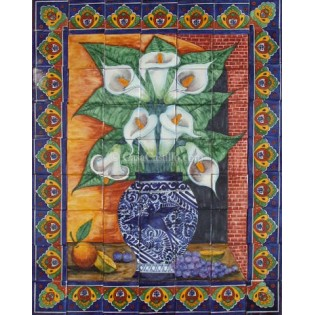 Ceramic Frost Proof Mural Lillies 2