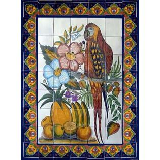 Mexican Talavera Mural Parrot 1