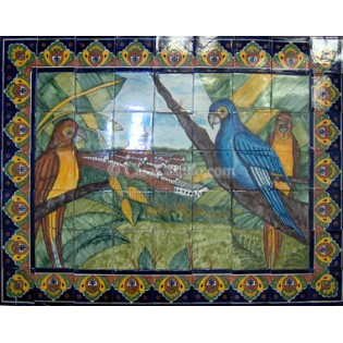 Ceramic Frost Proof Mural Parrots1