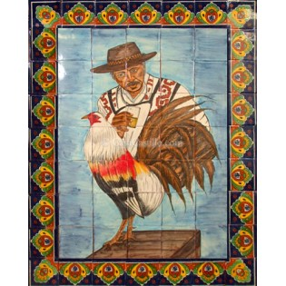 Mexican Talavera Mural Gallito 1