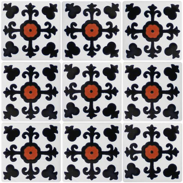 Mexican Talavera Tiles - Black and white talavera tile